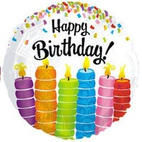 Happy Birthday Foil Balloon Bright Candles - (BNE Delivery)