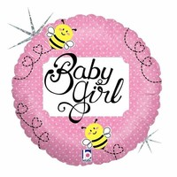 Baby Girl Bumble Bee Foil Balloon - (BNE Delivery)