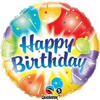 Happy Birthday Multicoloured Foil Balloon - (BNE Delivery)