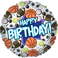 Happy Birthday Boy Sports Foil Balloon- (BNE Delivery)