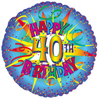 Happy 40th Birthday Foil Balloon - (BNE Delivery)