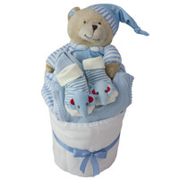 Bed Time Blue Nappy Cake