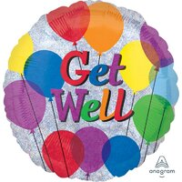 Get Well Holographic Balloon - (BNE Delivery)