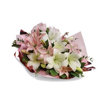 Pink and White Lily Bouquet
